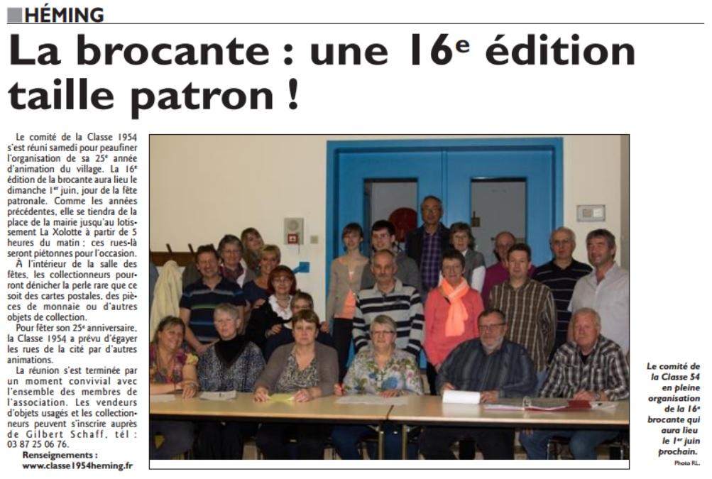 Républicain Lorrain du 26/04/2014 : 16ème brocante à Héming !